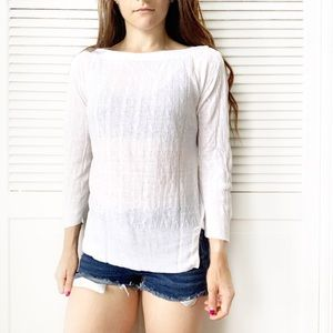 J. Crew White 3/4 Sleeve Boatneck Cable Knit Top